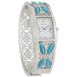 Bay Studio Womens Silver Tone & Turquoise Blue Cuff Watch