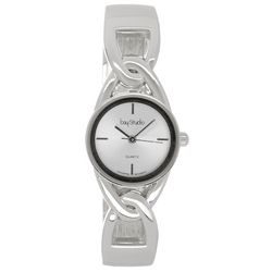 Bay Studio Womens Silver Tone Cutout Link Hinged Cuff Watch