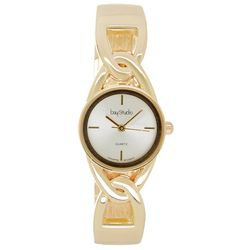 Bay Studio Womens Gold Tone Cutout Hinged Cuff Watch