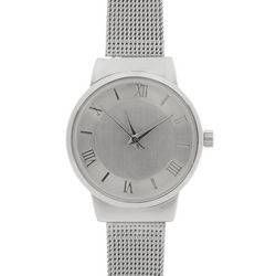 Bay Studio Womens Silver Tone Metal Mesh Band Watch