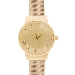 Bay Studio Womens Gold Tone Metal Mesh Band Watch