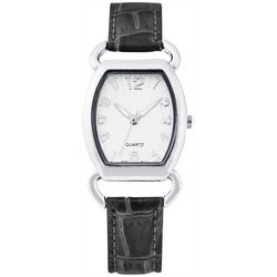 Bay Studio EZ Read Black Croco Strap Watch
