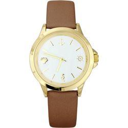 Bay Studio Womens Nautical Markers Brown Strap Watch