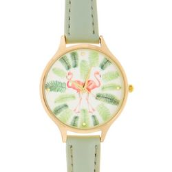 Bay Studio Womens Flamingos & Palm Leaves Strap Watch