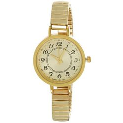 Bay Studio Womens EZ Read Gold Tone Round Face Stretch Watch