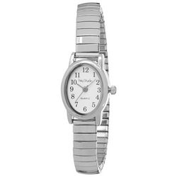 Bay Studio EZ Oval Dial Silver Tone Stretch Watch