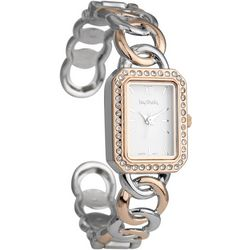 Bay Studio Rose & Silver Tone Hinged Cuff Watch