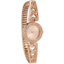 Bay Studio Rose Tone Crystal Dial Stretch Bracelet