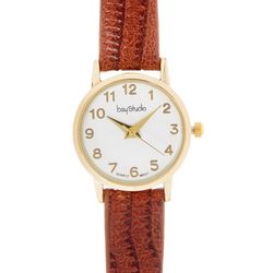 Bay Studio EZ Read Gold Dial Brown Strap Watch