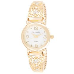 Bay Studio Womens Gold Tone Filigree Stretch Watch