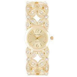 Bay Studio Womens Gold Tone Hinged Cuff Watch