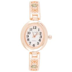 Bay Studio Womens EZ Read Oval Rose Gold Tone Stretch Watch
