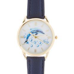 Bay Studio Womens Dolphin Navy Blue Strap Watch