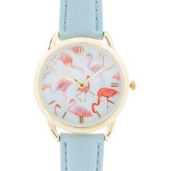 Bay Studio Womens Flamingo Blue Strap Watch
