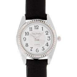 Bay Studio Womens Black Strap & Silver Tone Watch