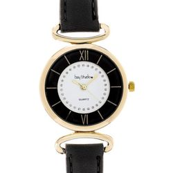 Bay Studio Womens Round Gold Tone Dial Watch