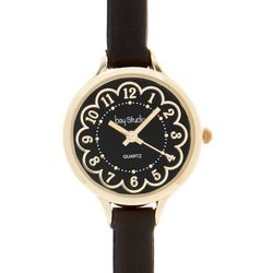 Bay Studio Womens Gold Tone Flower Face Watch