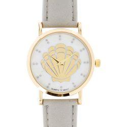 Bay Studio Womens Grey & Gold Tone Shell Strap Watch