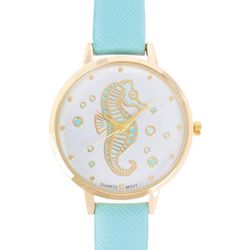 Bay Studio Womens Gold Tone Seahorse Blue Strap Watch