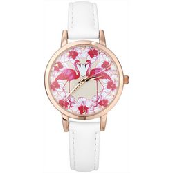 Bay Studio Womens Rose Gold Tone Flamingo Flower Watch