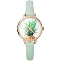 Bay Studio Womens Pineapple Green Strap Watch