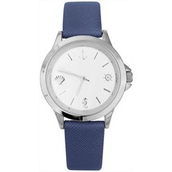 Bay Studio Womens Nautical Numbers Blue Strap Watch