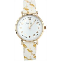 Bay Studio Womens Gold Tone Flamingo Strap Watch