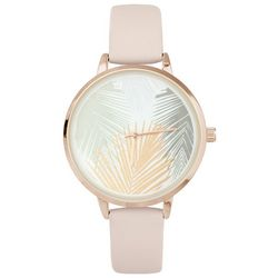 Bay Studio Womens Palm Frond Face Blush Strap Watch