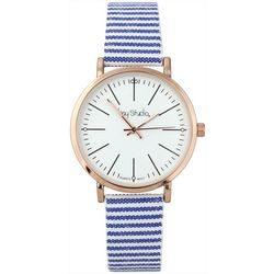 Bay Studio Womens Seersucker Striped Strap Watch