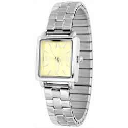 Bay Studio Womens Silver Tone Rectangular Stretch Watch