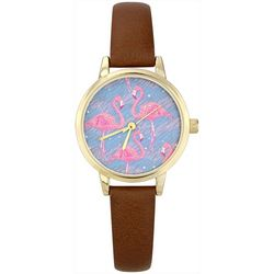 Bay Studio Womens Gold Tone Flamingo Flock Face Watch