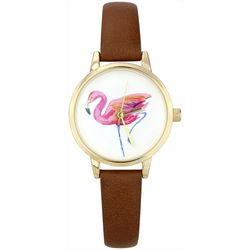 Bay Studio Womens Gold Tone Single Pink Flamingo Watch