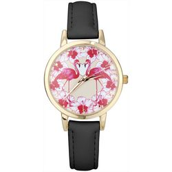 Bay Studio Womens Gold Tone Flamingo Flower Watch