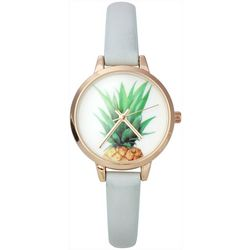 Bay Studio Womens Pineapple Grey Strap Watch
