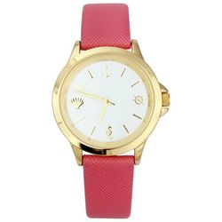 Bay Studio Womens Nautical Markers Coral Pink Strap Watch