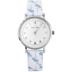 Bay Studio Womens Silver Tone Flamingo Strap Watch
