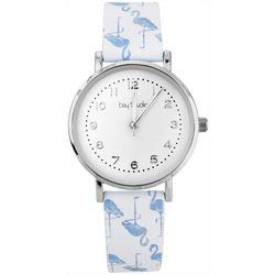Bay Studio Womens Silver Tone Flamingo Strap Watch