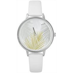 Bay Studio Womens Palm Frond Face White Strap