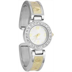 Bay Studio Womens Two Tone Rhinestone Hinged Bangle Watch