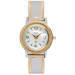 Bay Studio Womens Two Tone Mother Of Pearl Cuff Watch