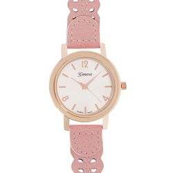 Geneva Womens Rose Gold Tone Cutout Strap Watch