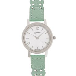 Geneva Womens Silver Tone Dial Mint Cutout Strap Watch