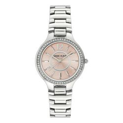 Anne Klein Womens Rose Face Crystal Accent Watch
