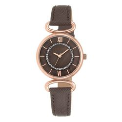 Anne Klein Womens Rhinestone Round Strap Watch