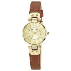 Anne Klein Womens Gold Tone Round Strap Watch
