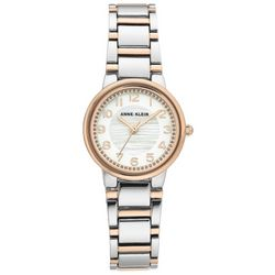Anne Klein Womens Rose Gold Silver Tone Round Watch