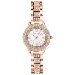 Anne Klein Womens Rose Gold Rhinestone Round Watch