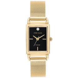 Anne Klein Womens Gold Tone Mesh Rectangle Watch