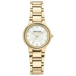 Anne Klein Womens Gold Tone Rhinestone Face Round Watch