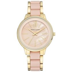 Anne Klein Womens Gold Tone Rose Mother of Pearl Link Watch